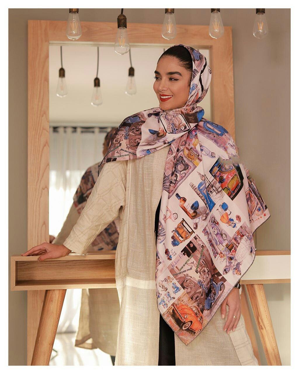 روسری توویل ابریشم دست دوز 140x140