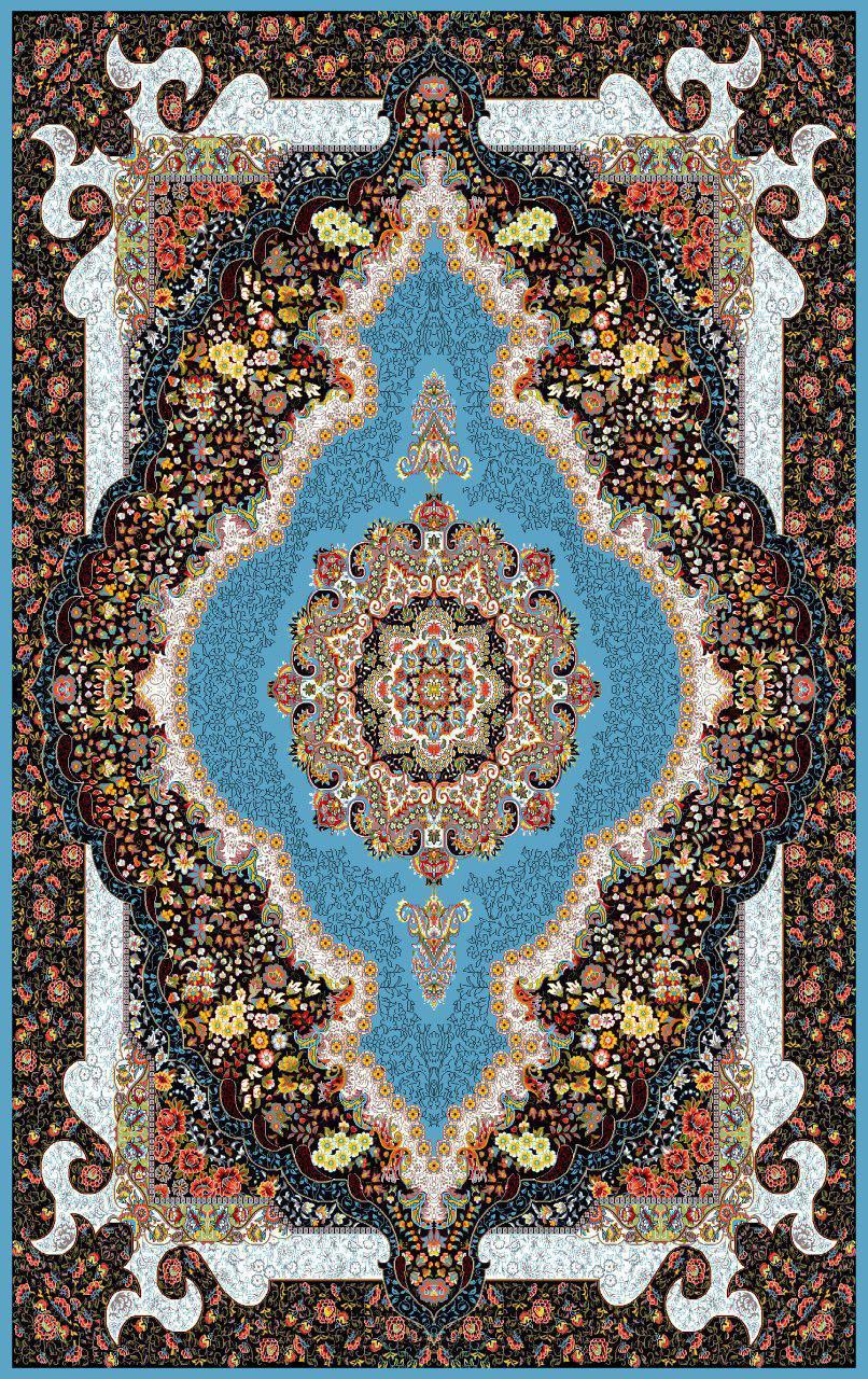 فرش نقش سلطان آبی رنگ 700 شانه 12 متری