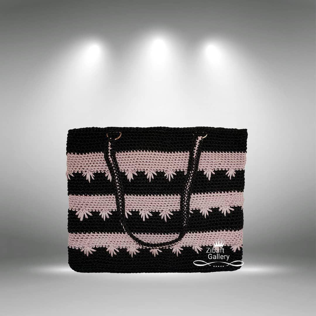 کیف مکرومه دستبافت طرح درنیکا