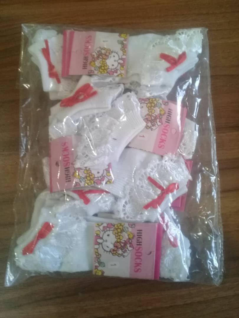 جوراب دخترانه نواردوزی شده بسته 12عددی