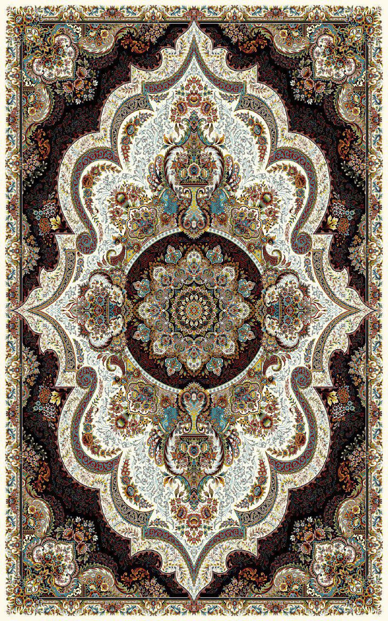 فرش نقش شهیاد کرم رنگ 700 شانه 12 متری