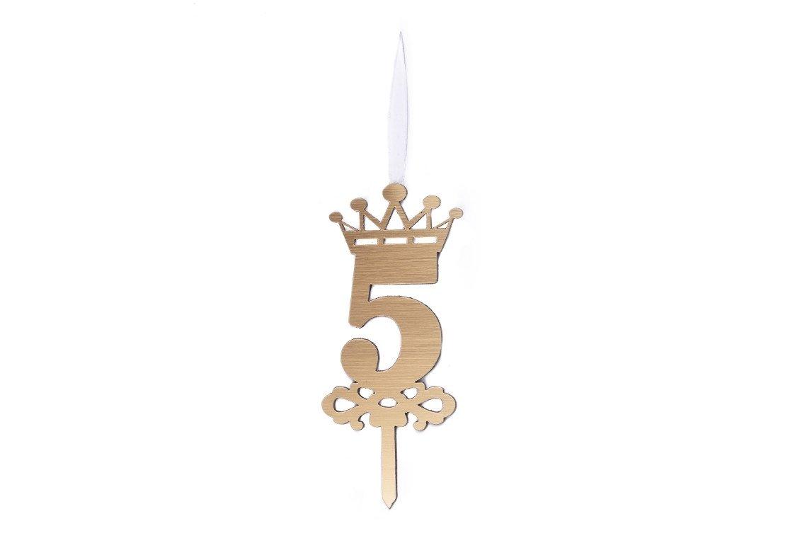 شمع شگفت انگیز عدد 5 تاجدار طلایی