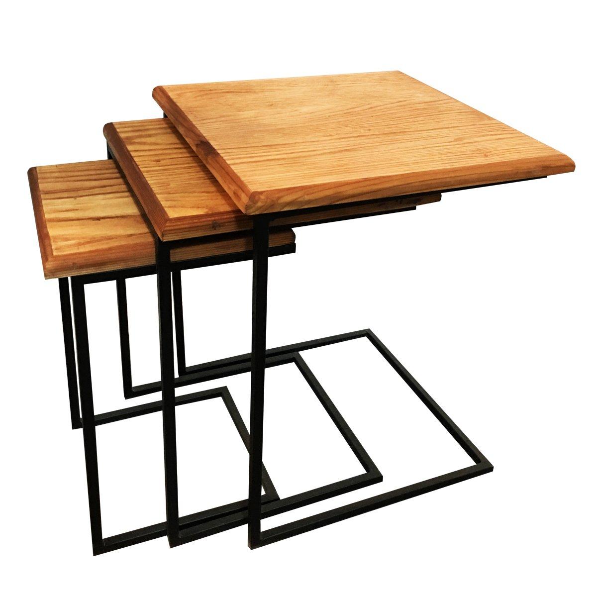 میز عسلی سه تکه چوب روسی و پایه فلزی مشکی