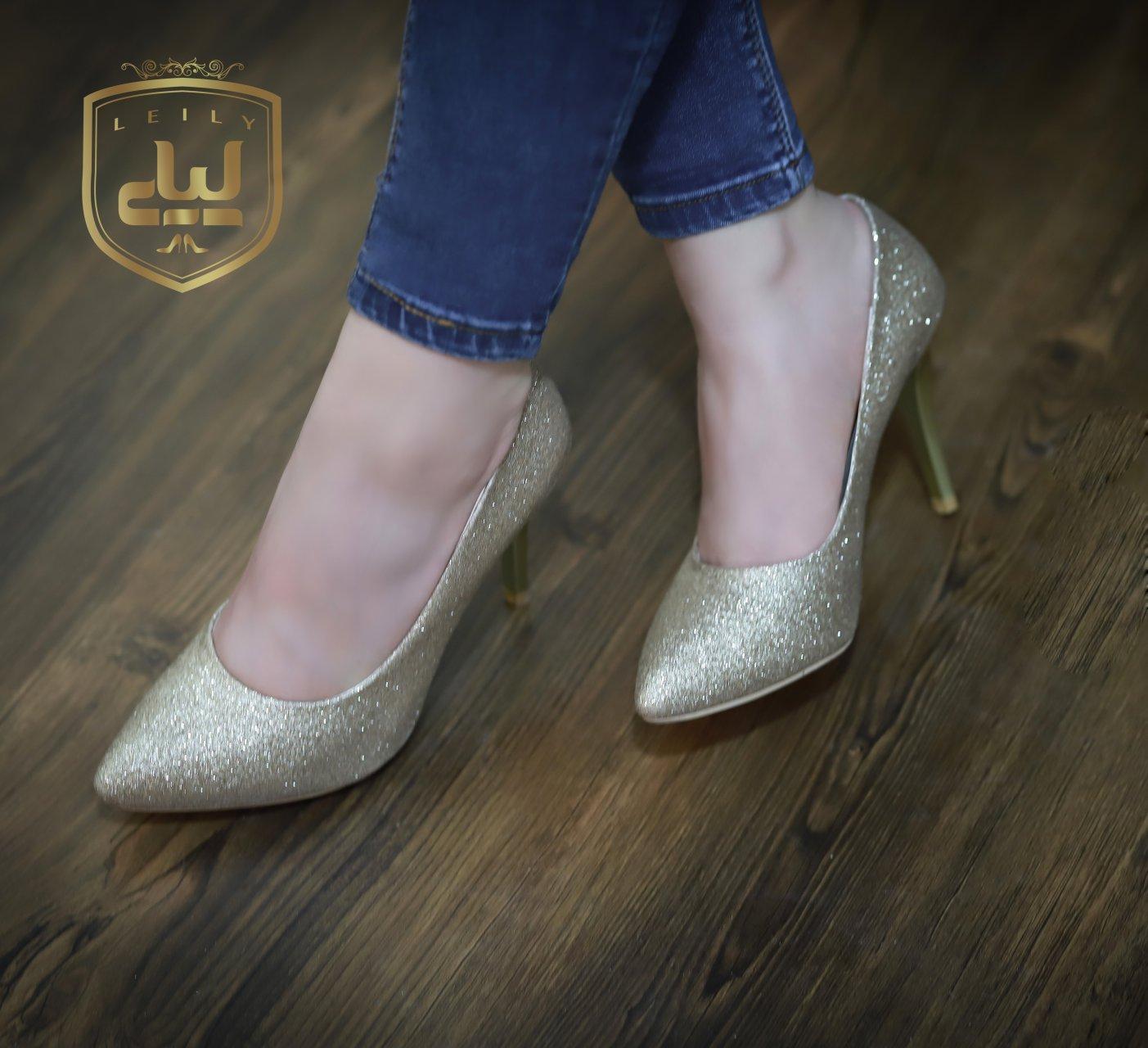 کفش مجلسی لمه شنی طلایی