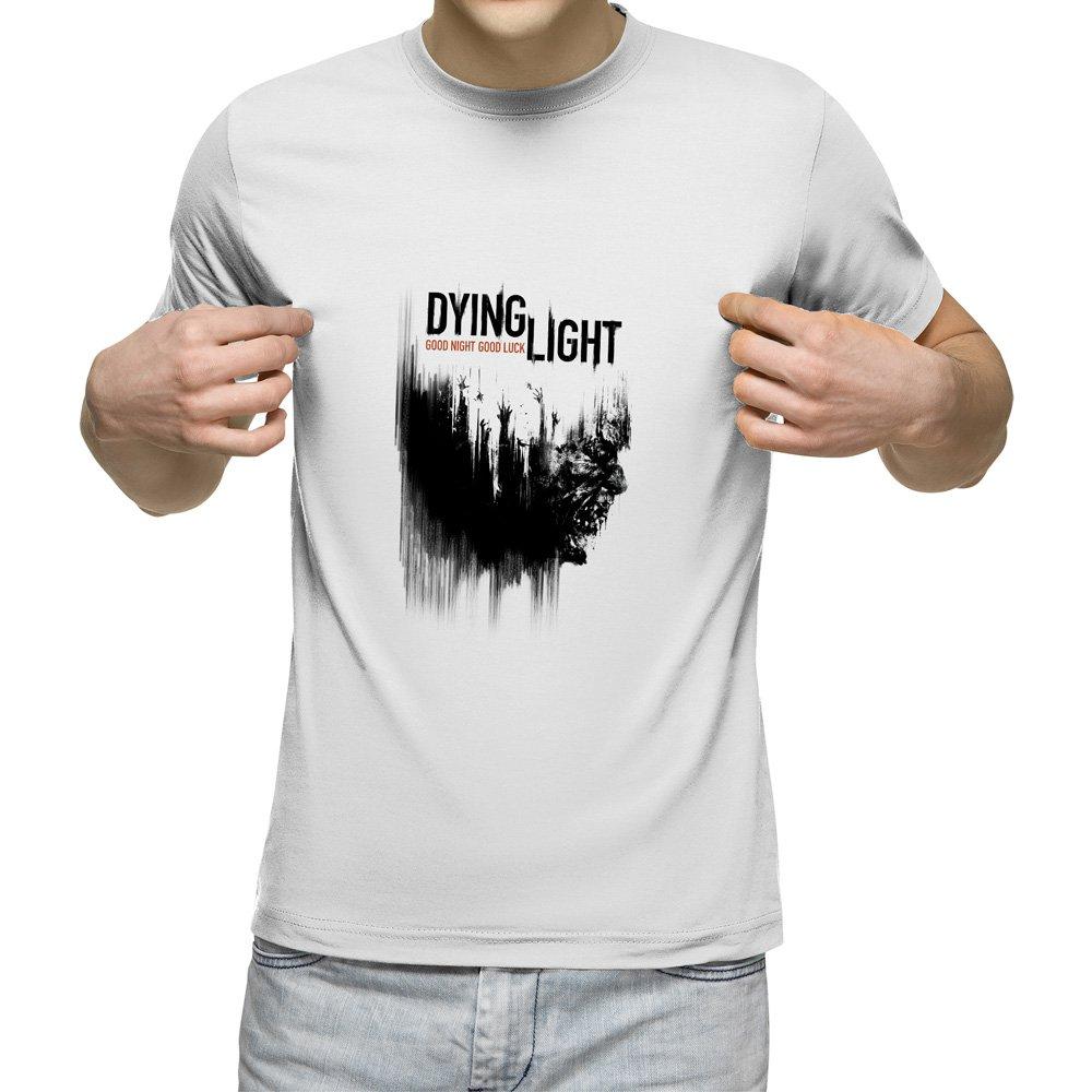 تیشرت آستین کوتاه مردانه یقه گرد سفید طرحدایینگ لایت کد 10701