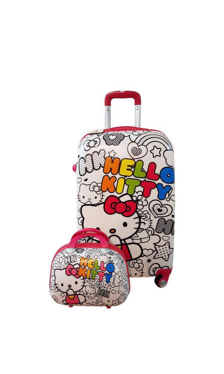 چمدان بچگانه طرح کیتی سایز 24 به همراه کیف آرایشی