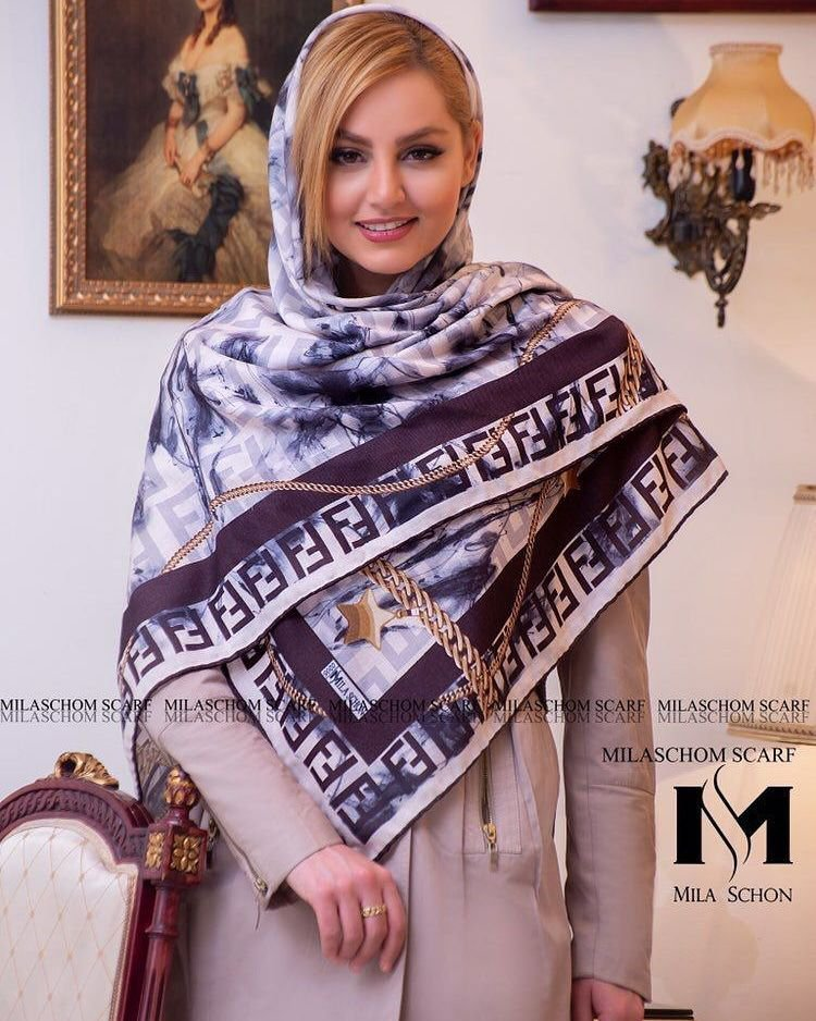 روسری زنانه قواره دار طرح برگ