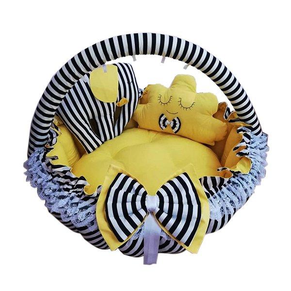 تشک نوزادی فلیکار مدل لبه دار گرد زرد مشکی