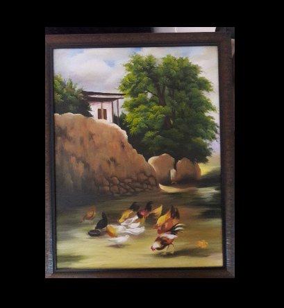 تابلوی نقاشی خانه ی روستایی
