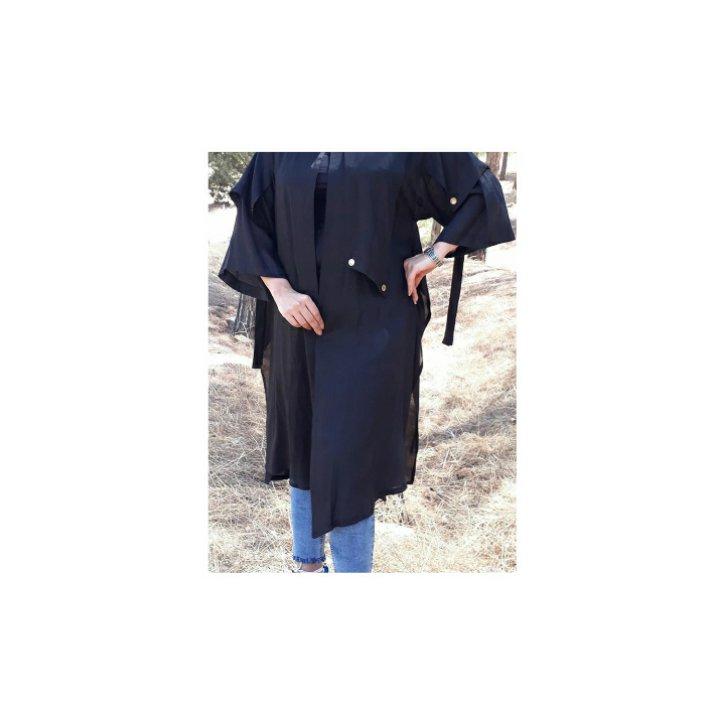 مانتو زنانه طرح 8 پرچ جنس برنوتی رنگ مشکی برند سارینا