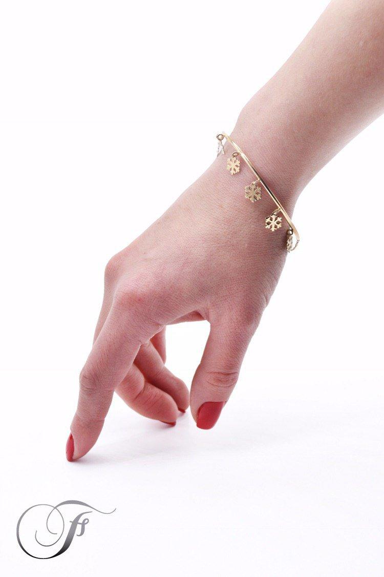 دستبند طلا طرح برف