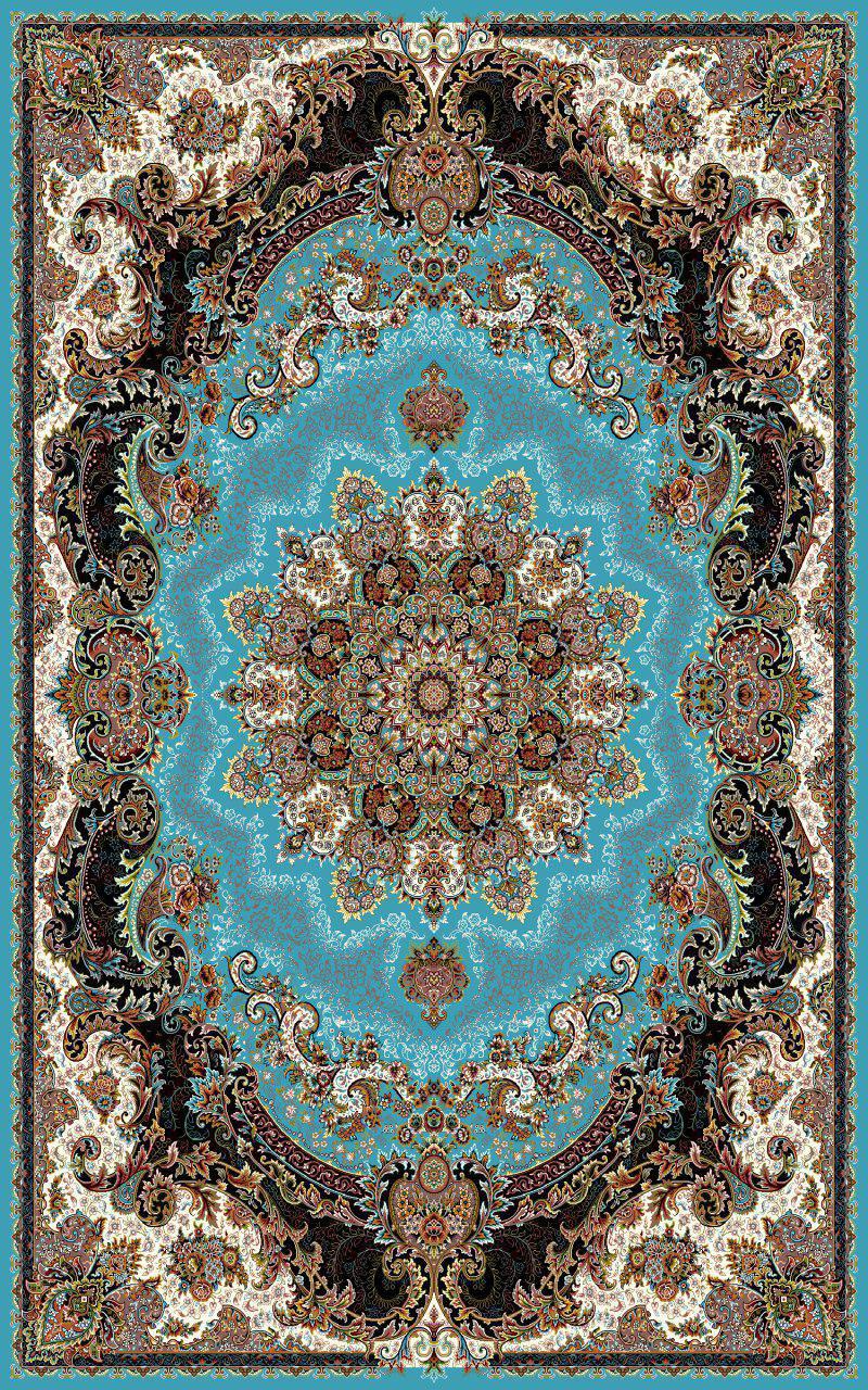 فرش طرح ژاله آبی رنگ 700 شانه 12 متری