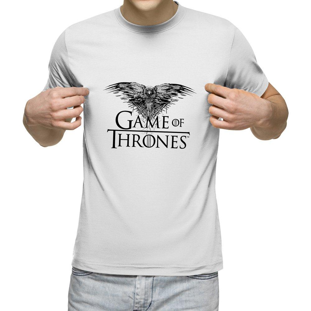 تیشرت آستین کوتاه مردانه یقه گرد سفید طرح Game of Thrones کد 11012