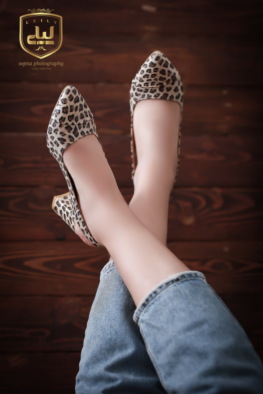 کفش مجلسی پلنگی پاشنه 5 سانت