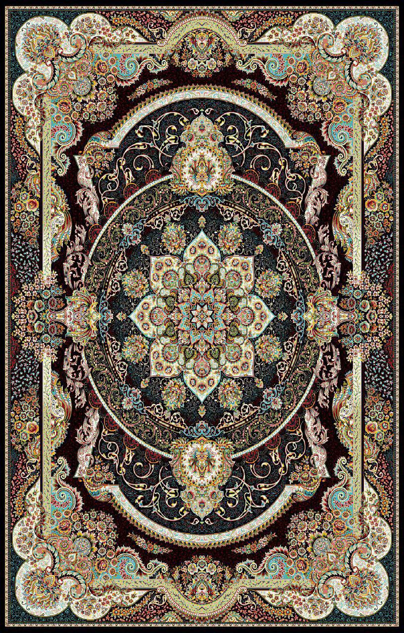 فرش نقش مانا سرمه ای رنگ 700 شانه 12 متری