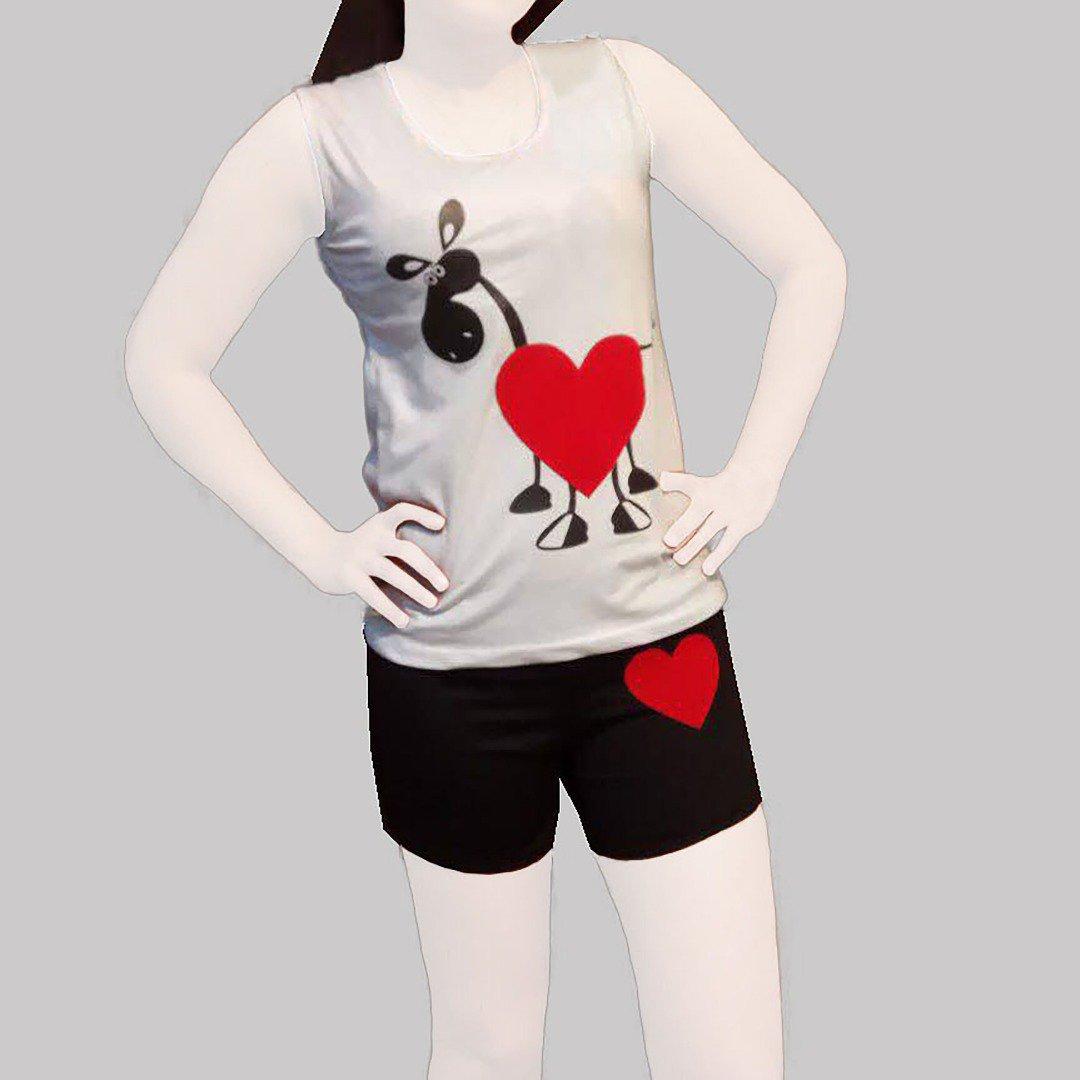 تاپ و شلوارک دخترانه مدل الاغ عاشق love جین ۸تایی