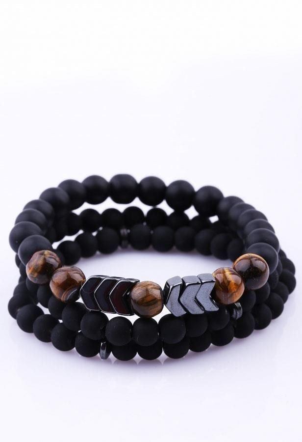 دستبند مردانه کار شده با سنگ اونیکس و چشم ببر و حدید