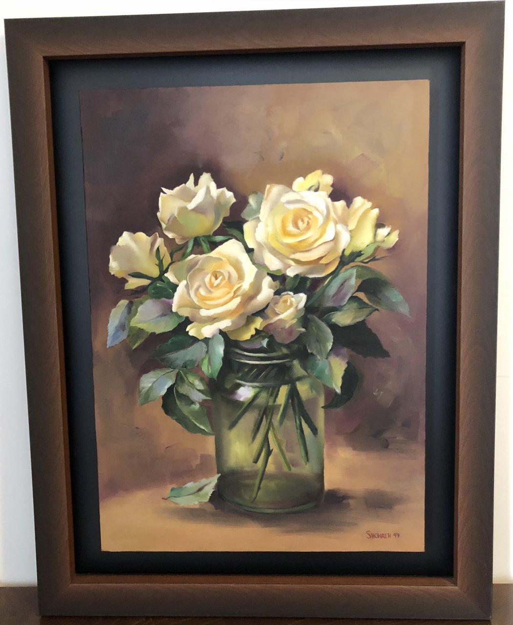 تابلو نقاشی رنگ روغن طرح گل