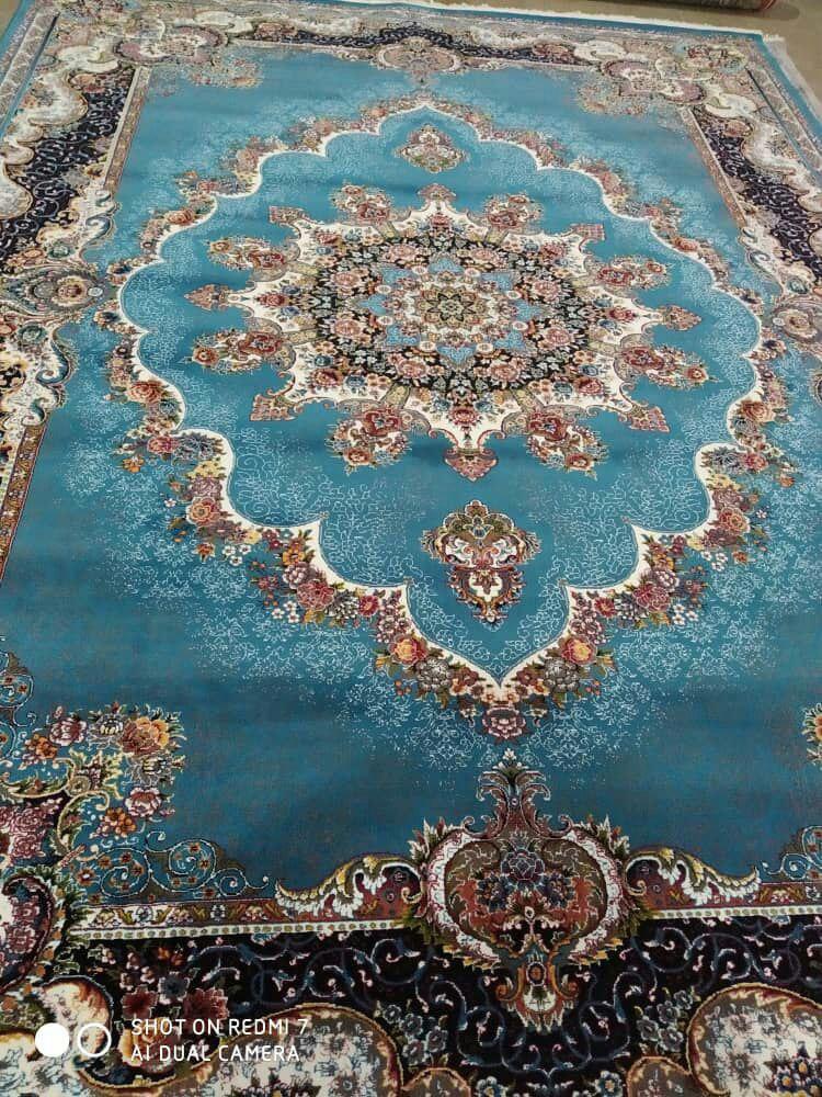 فرش طرح نیلا آبی رنگ 700 شانه بهار گستر کاشان 12 متری