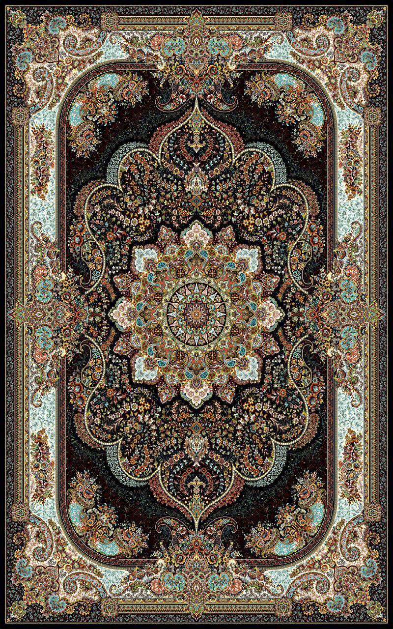 فرش نقش نسترن سرمه ای رنگ 700 شانه 12 متری