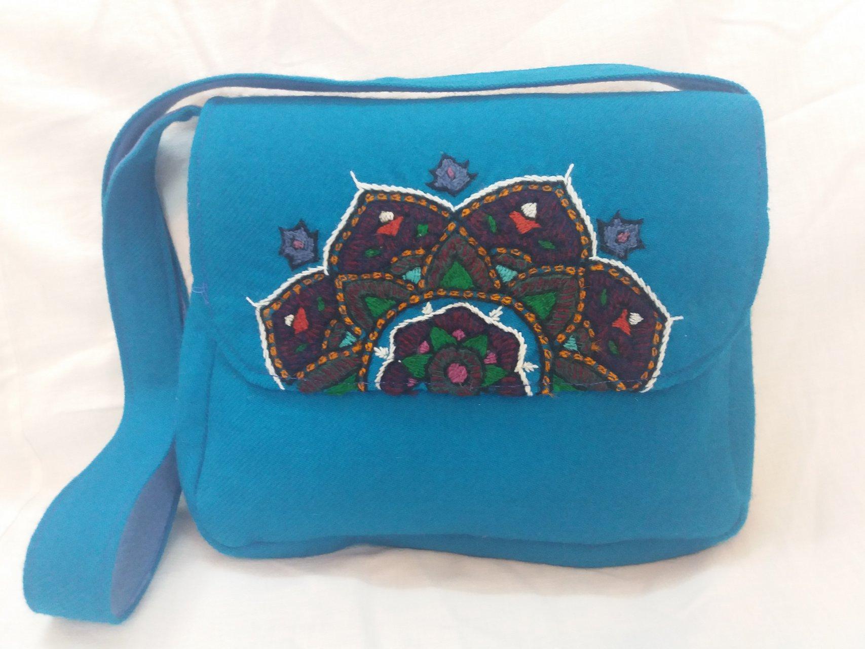 کیف زنانه رنگ آبی پته طرح ترنج
