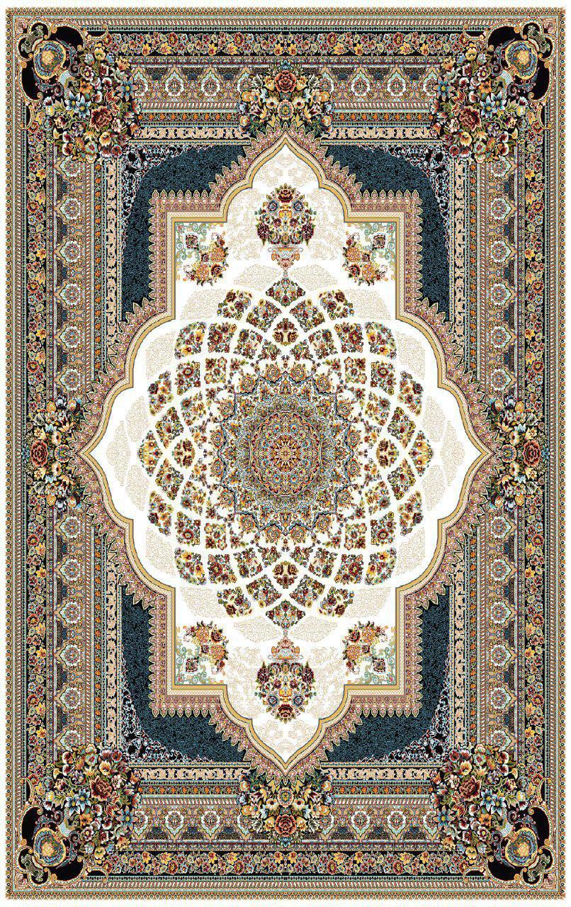 فرش نقش دایانا کرم رنگ 700 شانه 12 متری