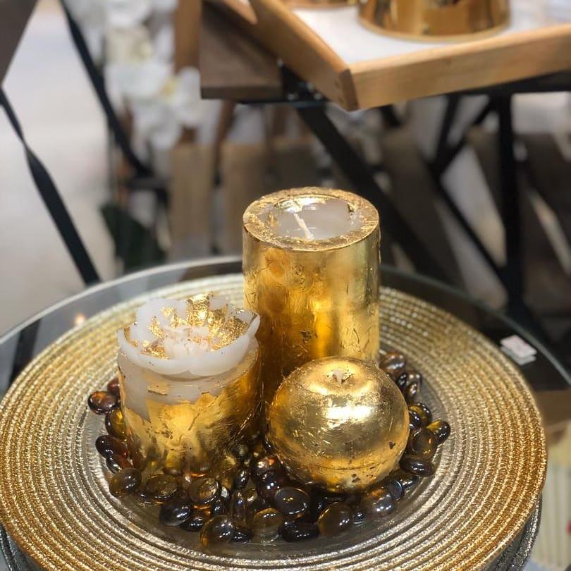 شمع استوانه طلایی وارمرخور