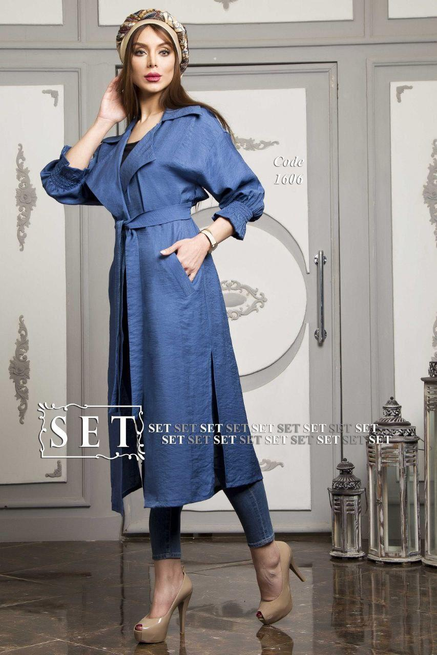 مانتو زنانه مدل تیارا آبی کد 1606