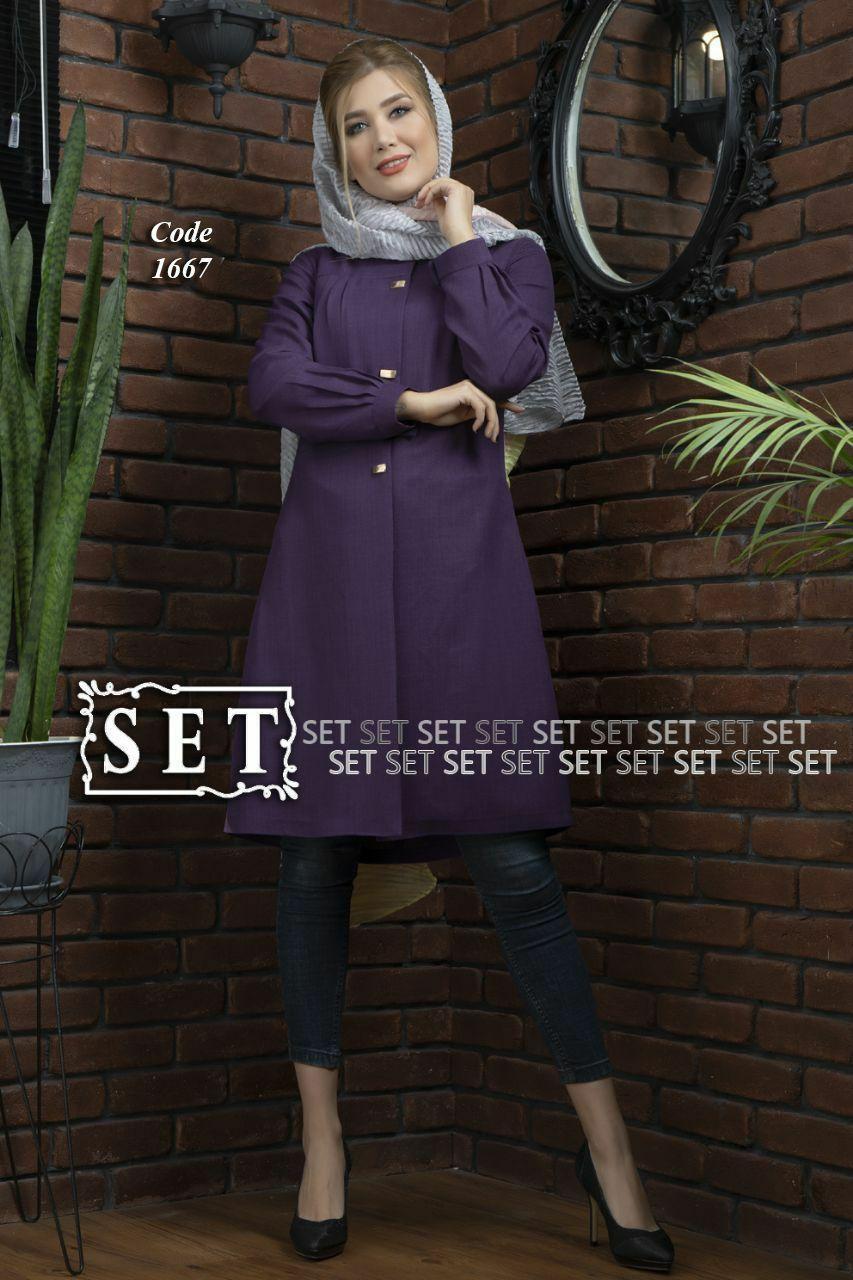 مانتو زنانه مدل لیدا بادمجونی کد 1667