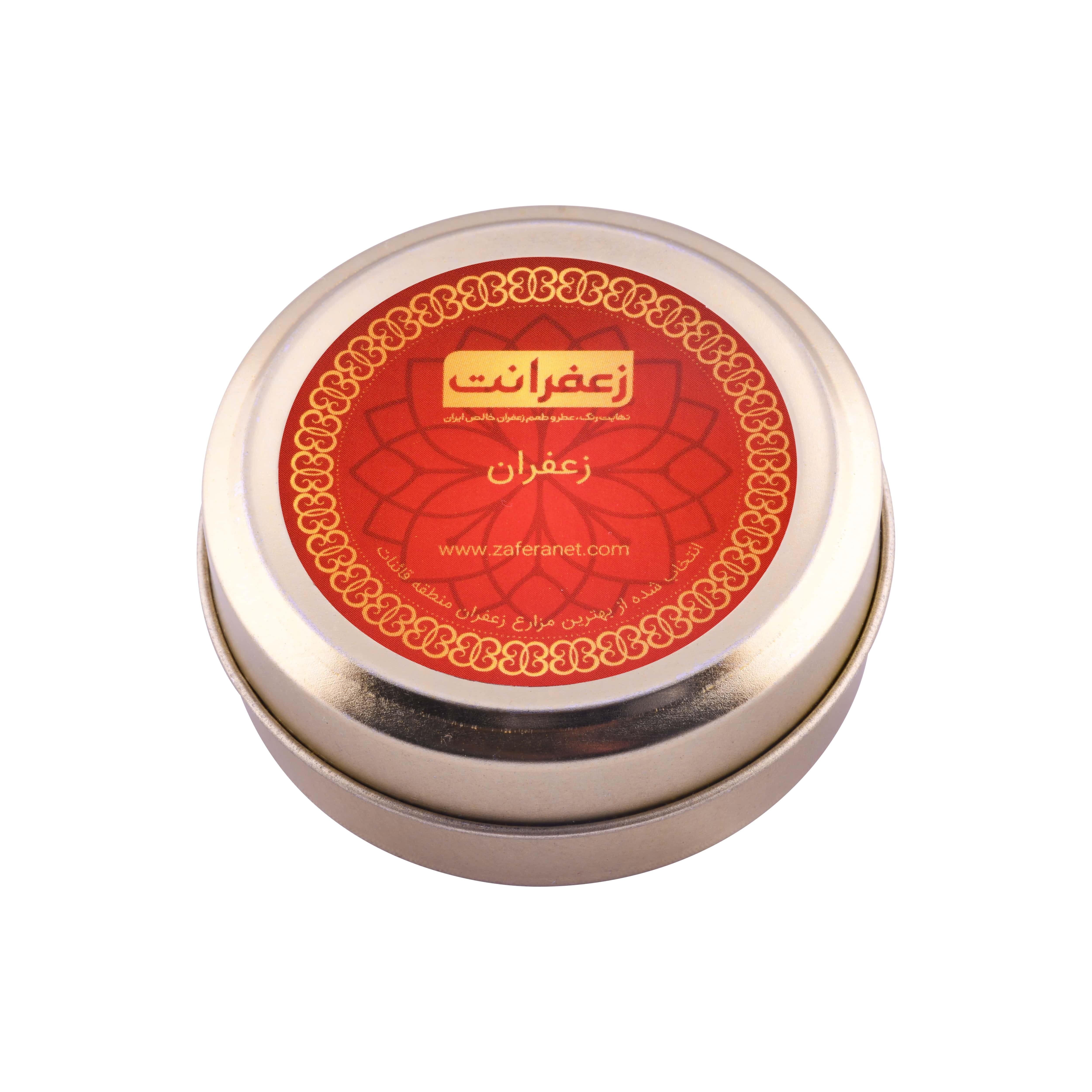 زعفران سرگل طرح قوطی طلایی وزن خالص 9.216 گرم
