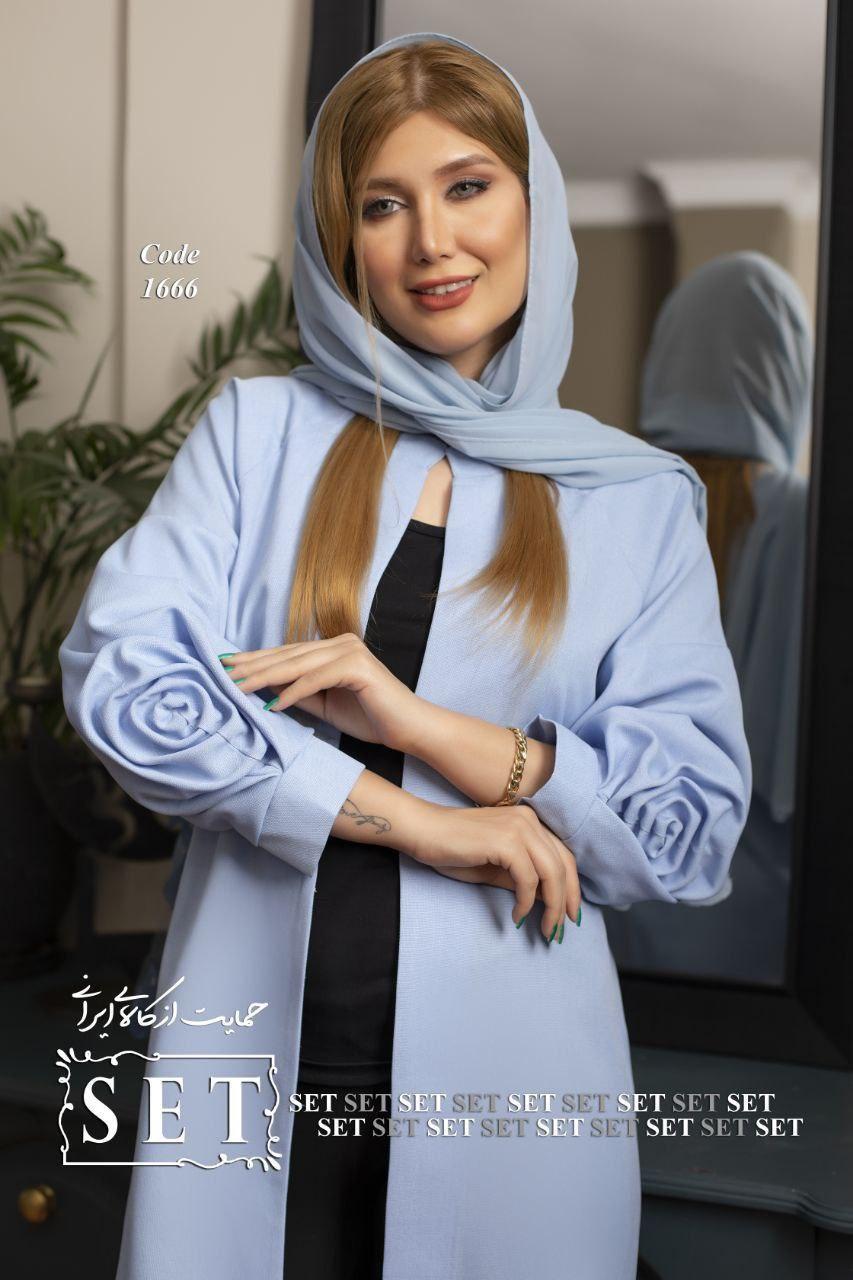 مانتو زنانه مدل نور رنگ آبی کد 1666