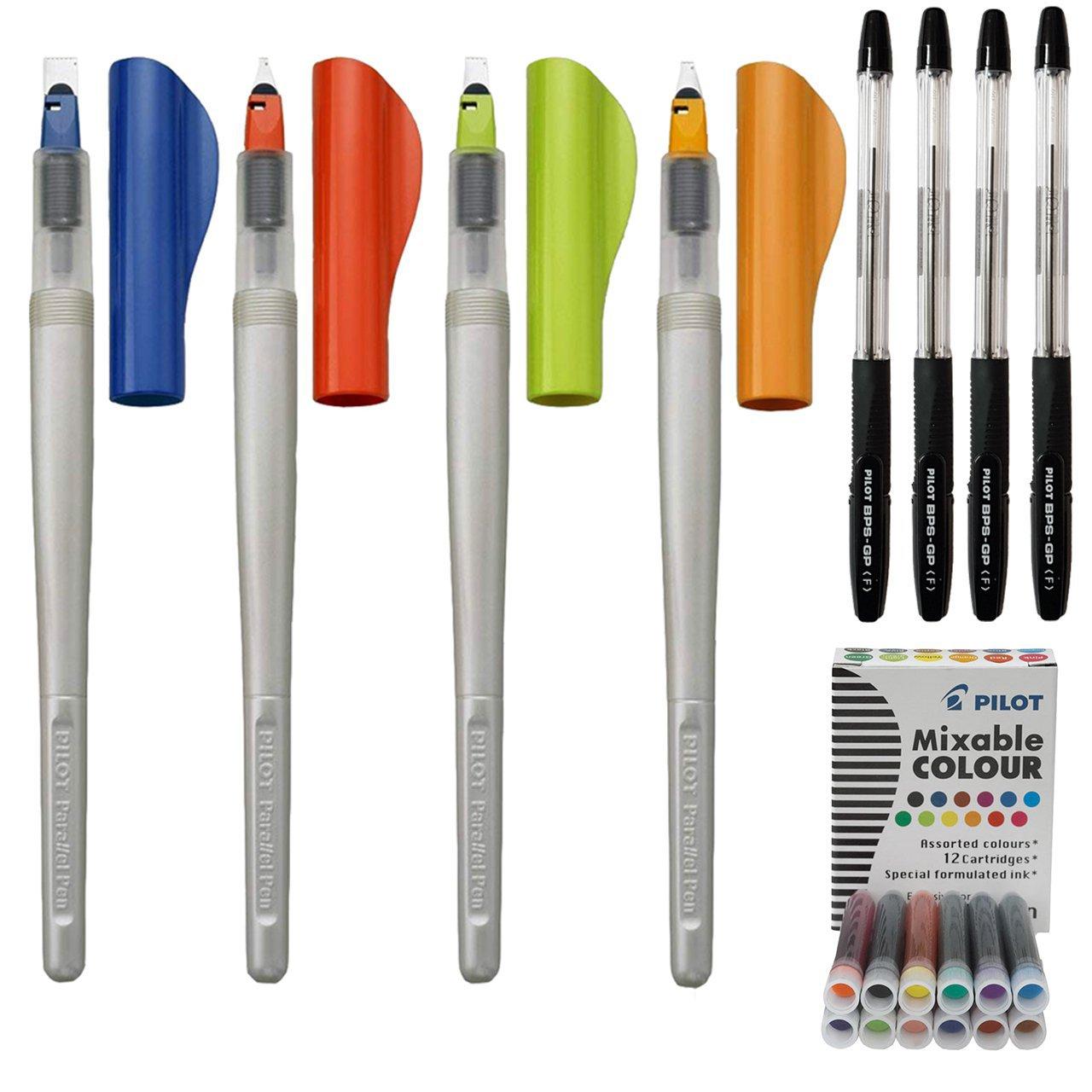 ست قلم کالیگرافی پایلوت مدل پارالل به همراه بسته دوعددی جوهر یدک رنگی و خودکار پایلوت مدل BPS-GP
