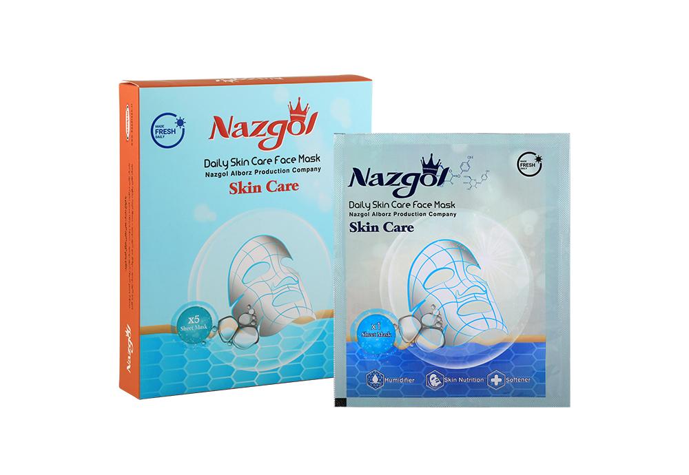ماسک نقابی صورت مراقبت کننده روزانه نازگل مناسب انواع پوست بسته 5 عددی