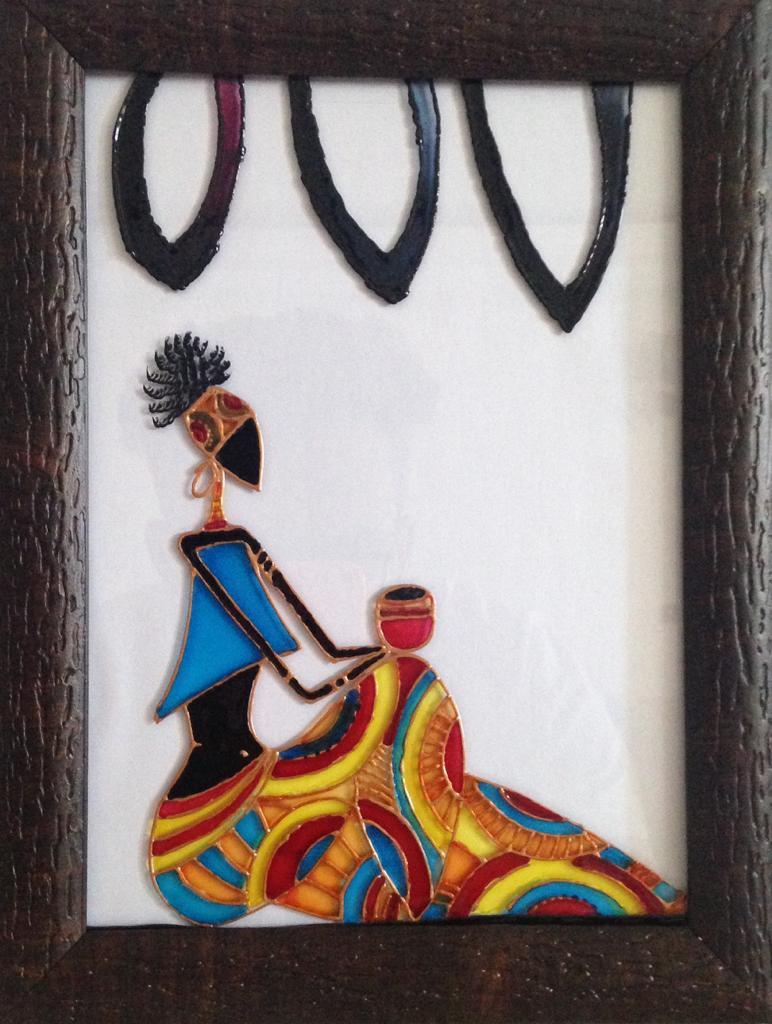 تابلو ویترای طرح دختر آفریقایی