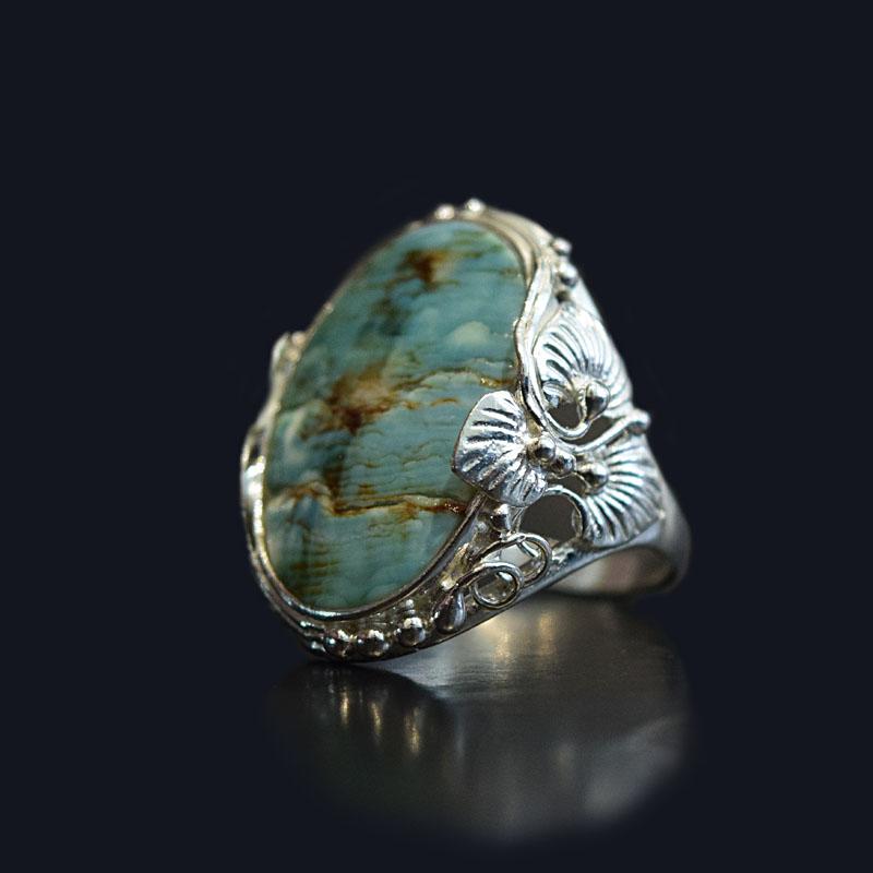 انگشتر نقره 925 زنانه - سنگ صدف طبیعی ماسیا کد 9