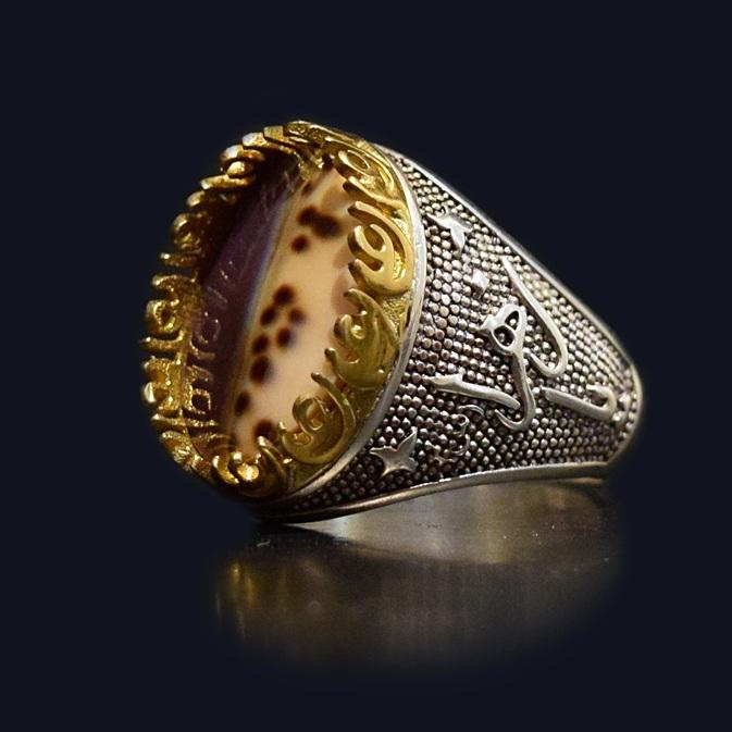 انگشتر نقره 925 - سنگ صدف طبیعی ماسیا کد 38