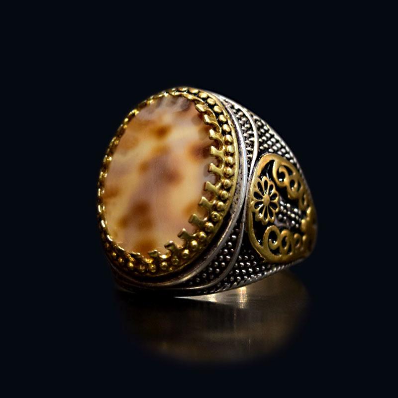 انگشتر نقره 925 - سنگ صدف طبیعی ماسیا کد 10