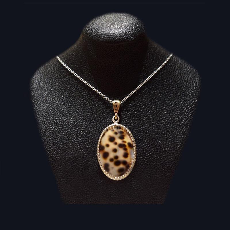 گردنبند نقره - سنگ صدف طبیعی ماسیا کد 39