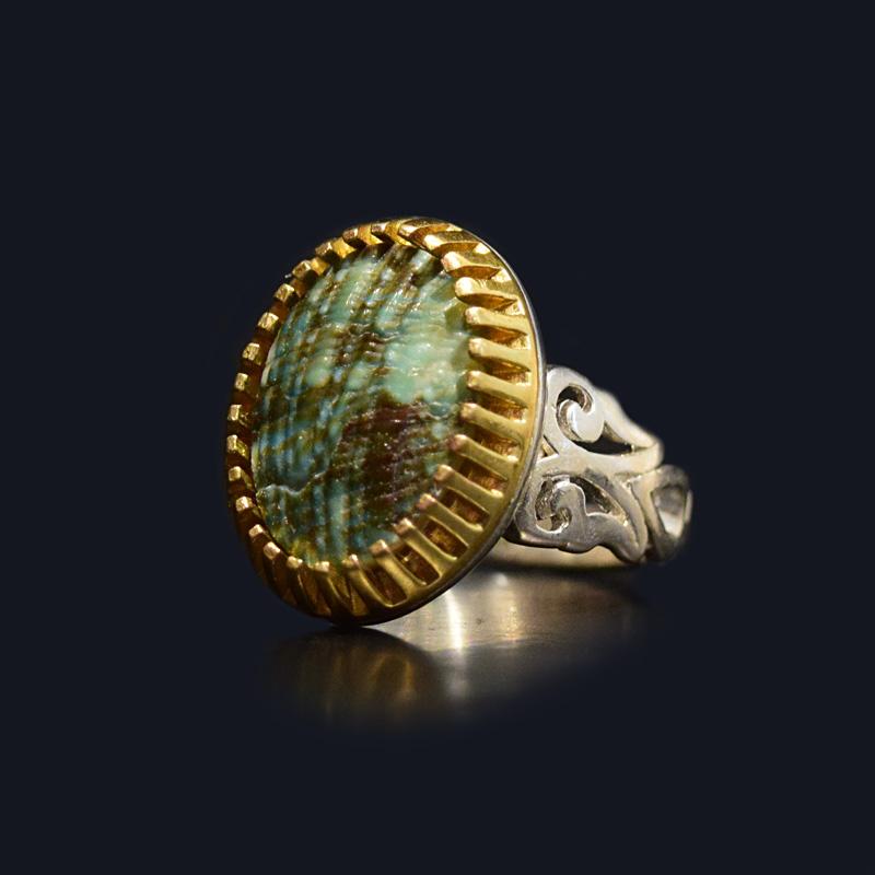 انگشتر نقره 925 سنگ صدف طبیعی ماسیا کد 0752