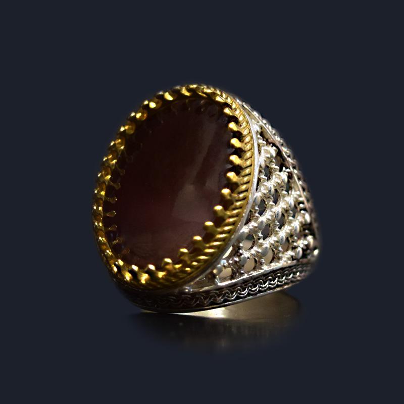 انگشتر نقره 925 - سنگ صدف طبیعی ماسیا کد 4