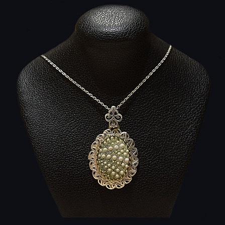 گردنبند نقره - سنگ صدف طبیعی ماسیا 02