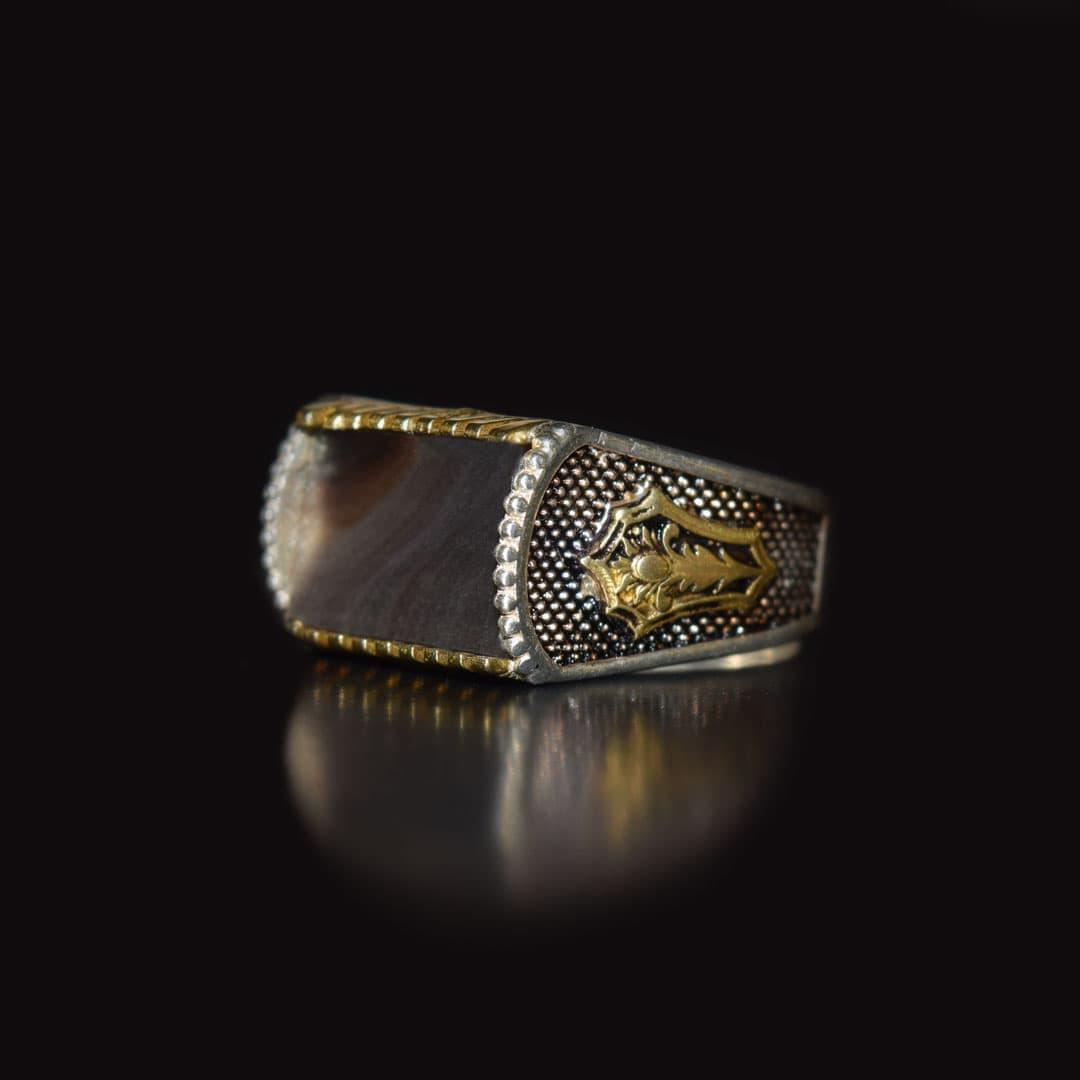 انگشتر نقره 925 - سنگ صدف طبیعی ماسیا کد 35