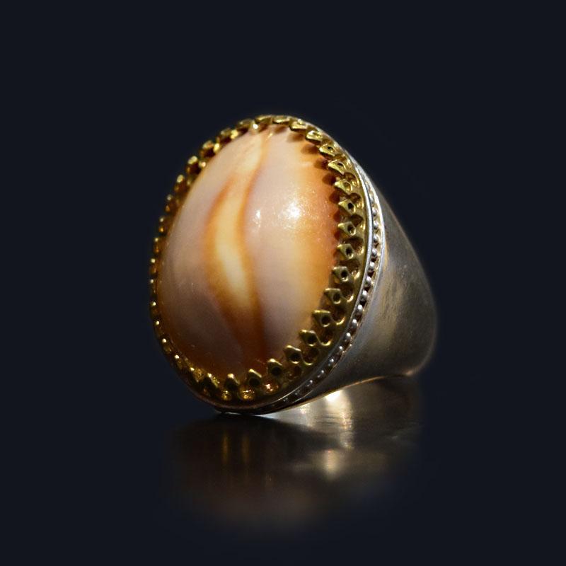 انگشتر نقره 925 - سنگ صدف طبیعی ماسیا کد 13