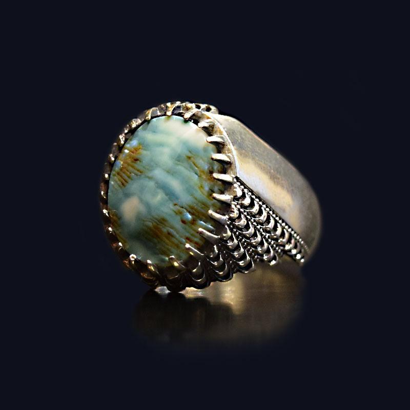 انگشتر نقره 925 - سنگ صدف طبیعی ماسیا کد 18