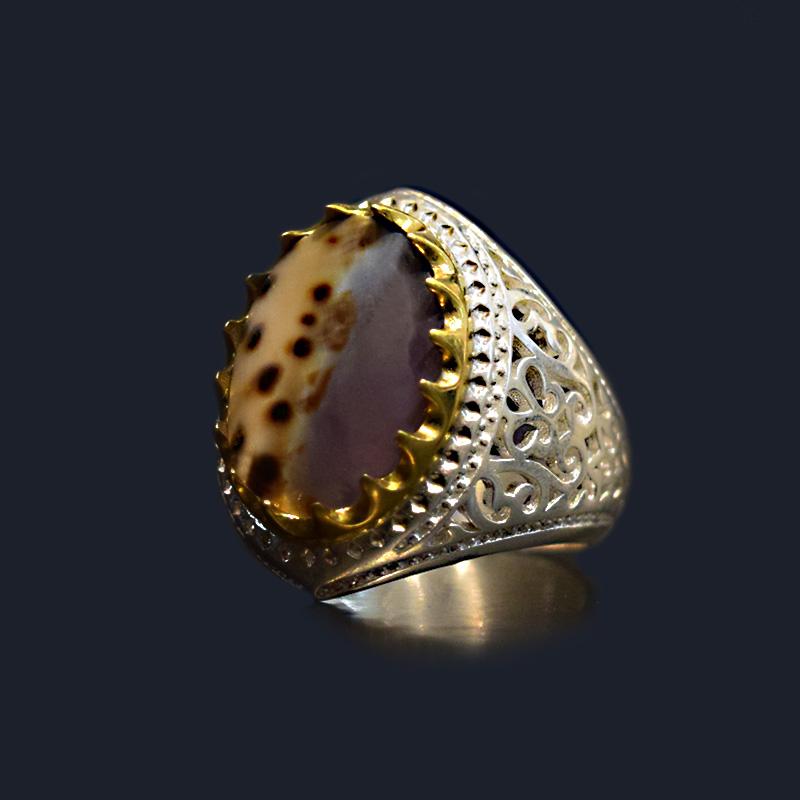 انگشتر نقره 925 سنگ صدف طبیعی ماسیا کد 039