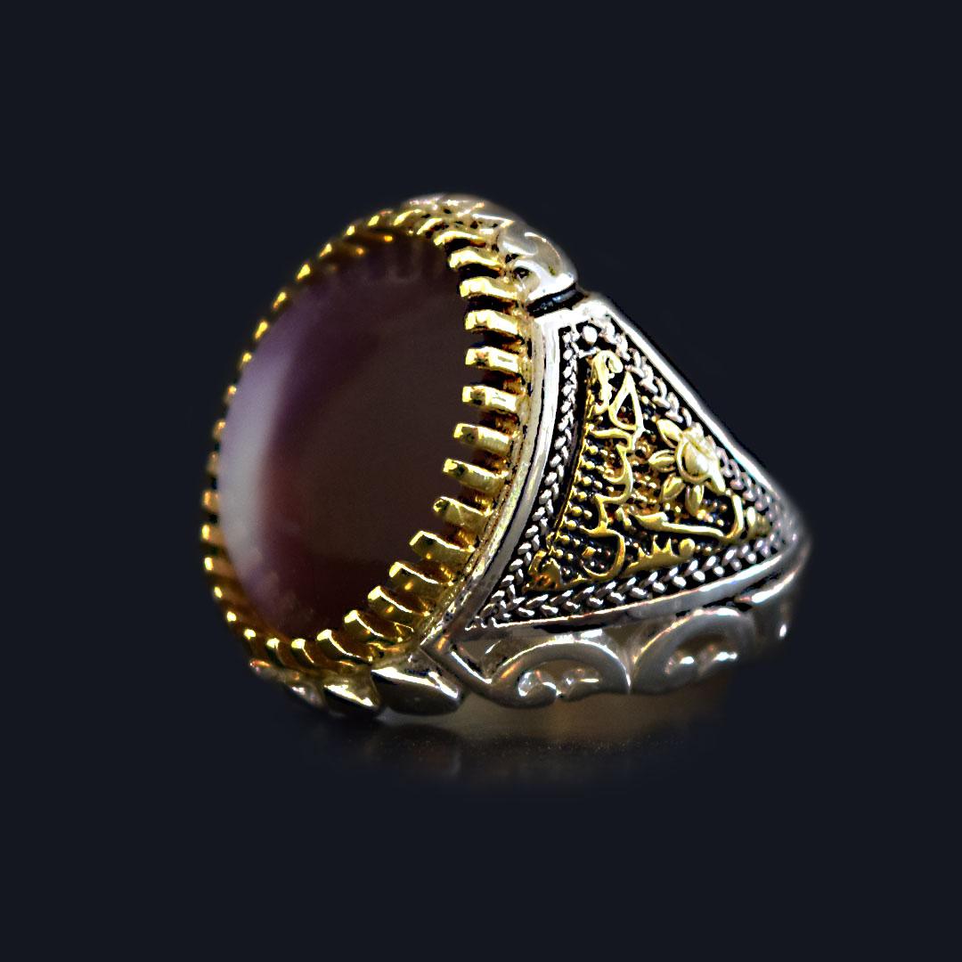 انگشتر نقره 925 - سنگ صدف طبیعی ماسیا کد 11