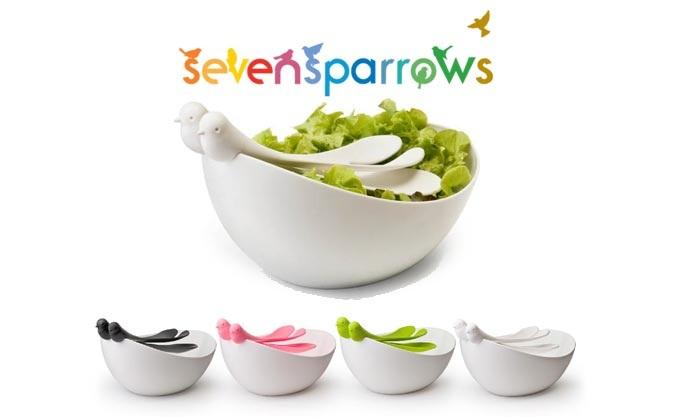 سالاد خوری و چنگال طرح پرنده مدل Seven Sparrows