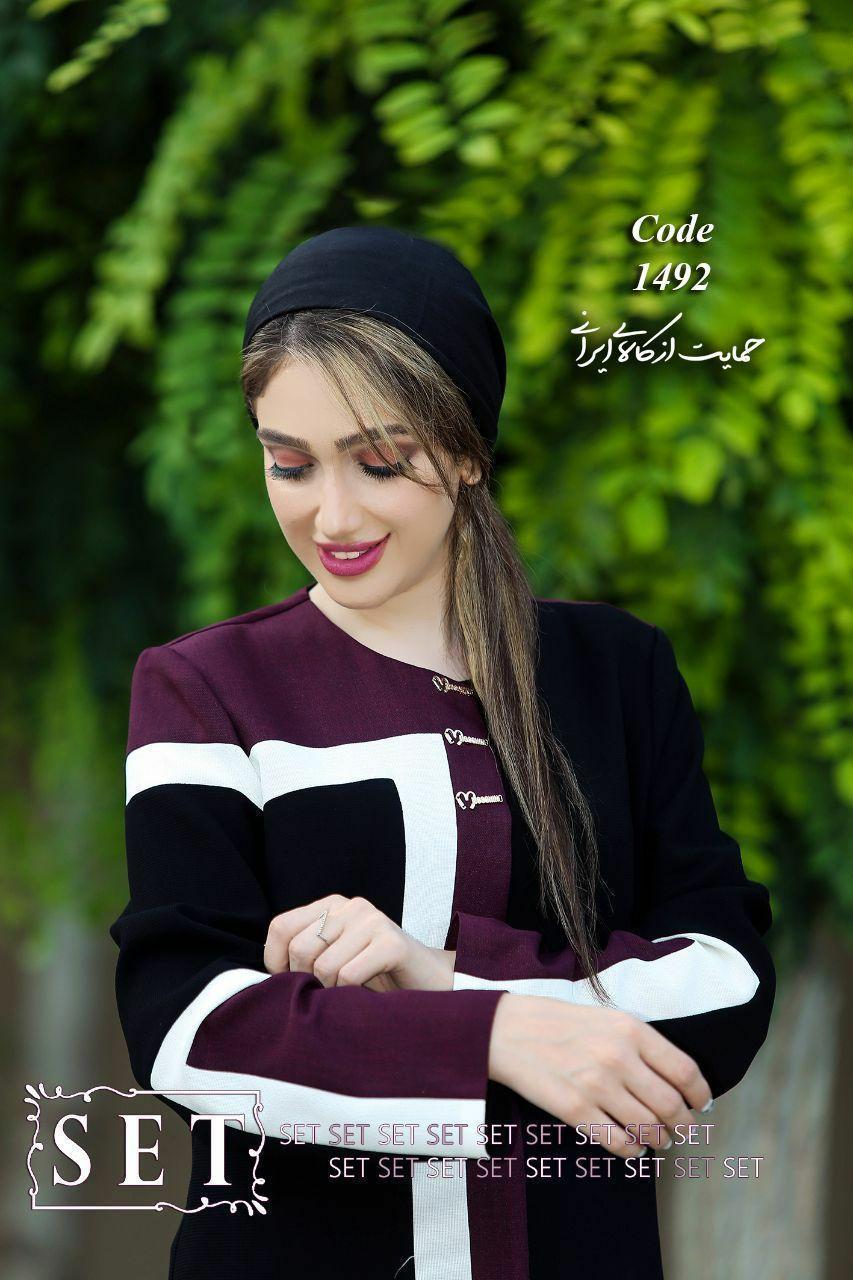 مانتو زنانه مدل ونوس بنفش کد 1492