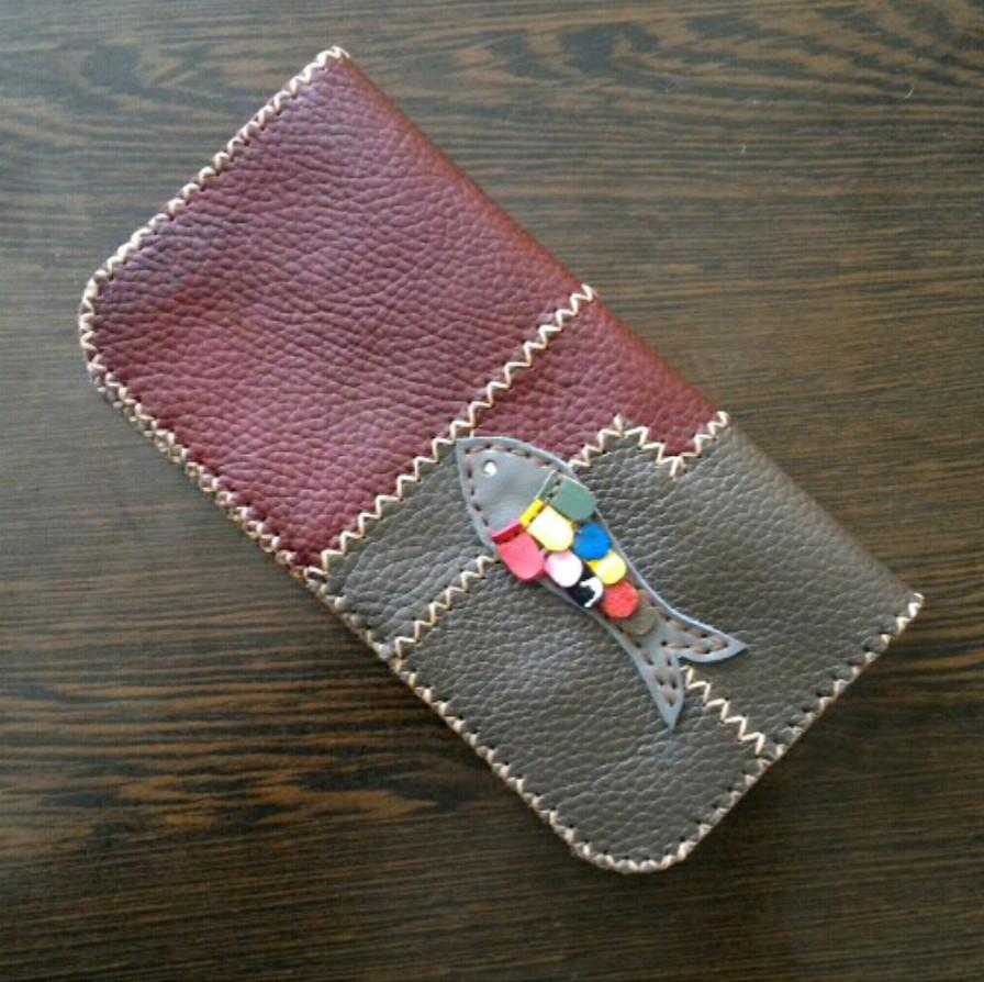 کیف پول چرم طبیعی دو رنگ کد ۰۰۶