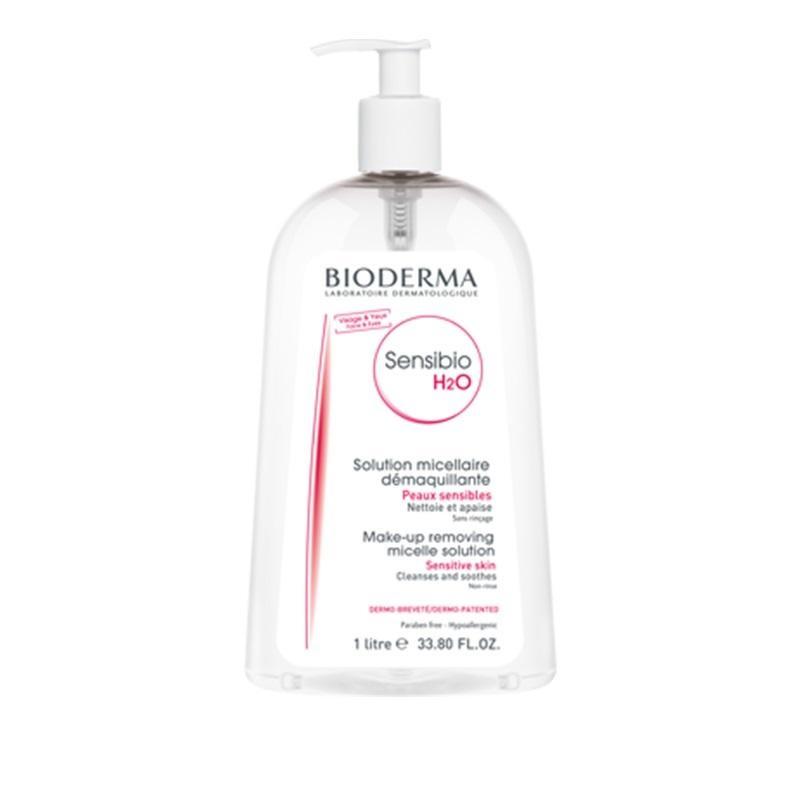 محلول پاک کننده آرایش صورت بایودرما مدل Sensibio H2O حجم ۱۰۰۰ میلی لیتر
